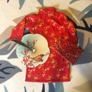 Asian red & gold faux silk dress toddler size 2